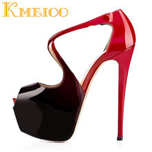 где купить Kmeioo Fashion Ladies Shoes Sexy Platform Pumps Peep Toe Stiletto Super High Heels Ankle Crisscross Strap Stiletto Wedding Shoes по лучшей цене