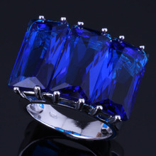 Glowing Huge Rectangle Blue Cubic Zirconia 925 Sterling Silver Ring For Women V0544