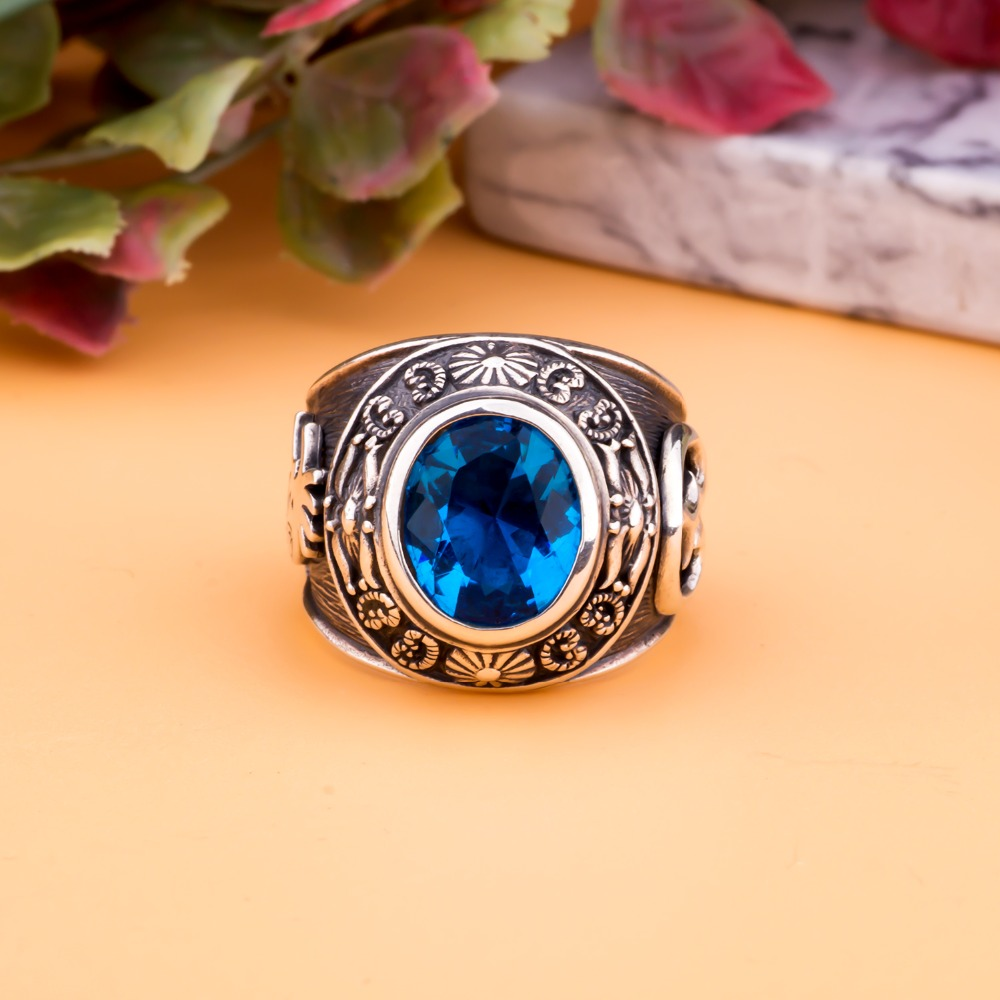 MetJakt Vintage Men Blue Topaz Rings Hand Carved Totem Solid 925 Sterling Silver Ring for Men Personality Thai Silver Jewelry-in Rings from Jewelry & Accessories    3