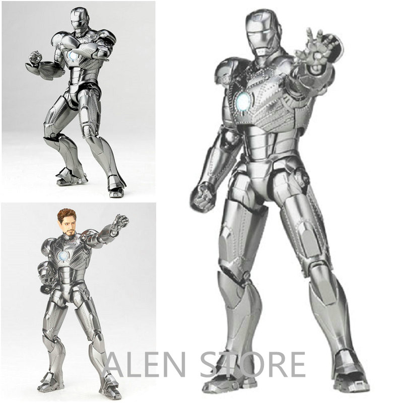 ALEN SCI-FI Revoltech Series NO.036 Iron Man Mark III MK3 NO.035 Mark 2 Mark II PVC Action Figure Collectible Model Toy series no 001 revoltech deadpool venom no 003 spider manno 002 004 iron man with bracket pvc action figure collectible model toy