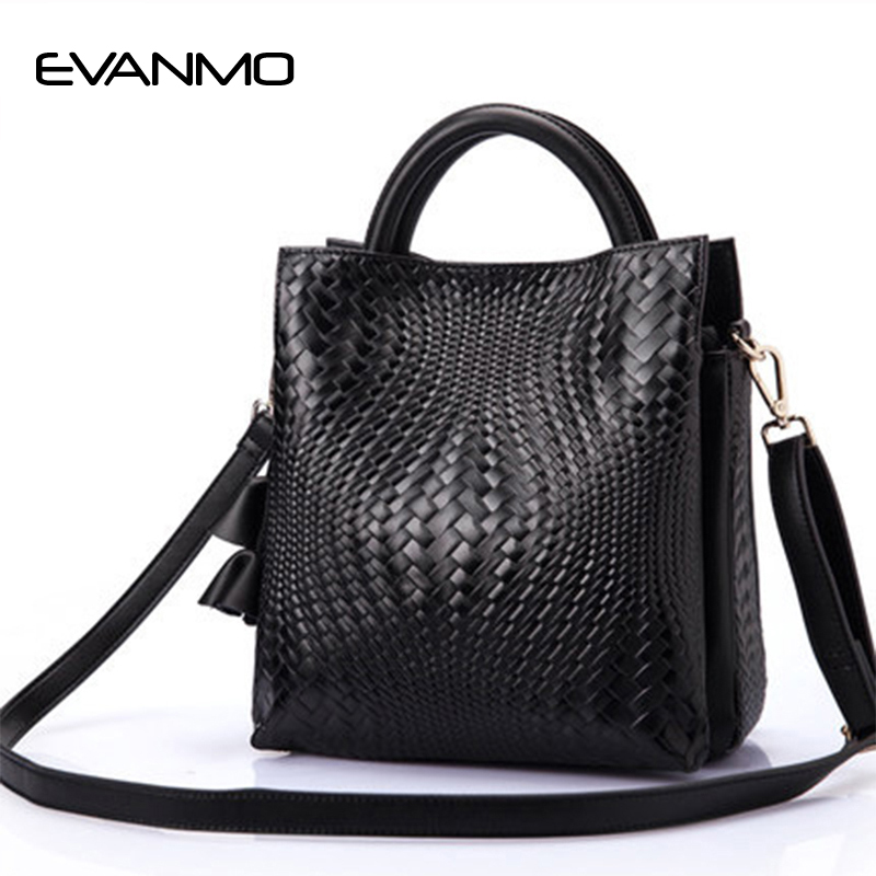 Hot Sale Simple Bucket Shoulder Bags Solid Big Handbag Woven Fashion Messenger Bags Female High Quality Leather Women Bag Ladies women bucket bag hot sale luxury messenger rivet bag tassel black famous brand new female solid genuine leather handbag vesatile