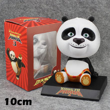 "Cute 4"" Movie Kung Fu Panda 3 Po Bobble Head Shaking Head Toy Model Car Decoration Boxed 10cm PVC Action Figure Doll Toys Gift(China)"