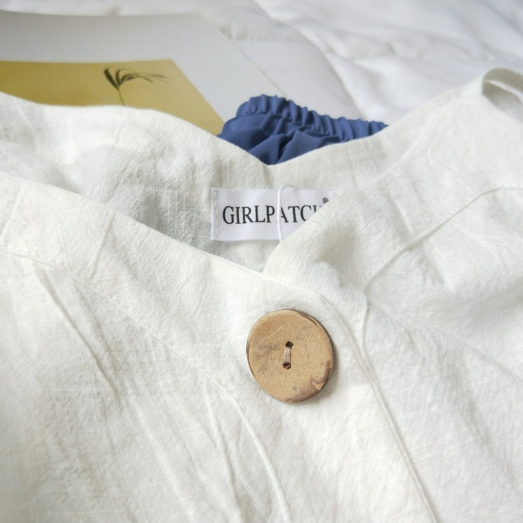 Cotton Linen V-neck Camisole Summer Women Vintage Buttons Cotton Linen Tops Sleeveless Crop Tops 8