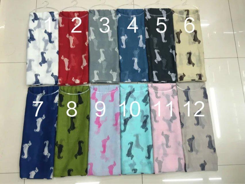2019 New Spring Dog Pattern Dachshund   Scarf   Animal Print Women   Scarf   Shawls   Wraps   13colors Wholesale 10pcs/lot FREE SHIPPING
