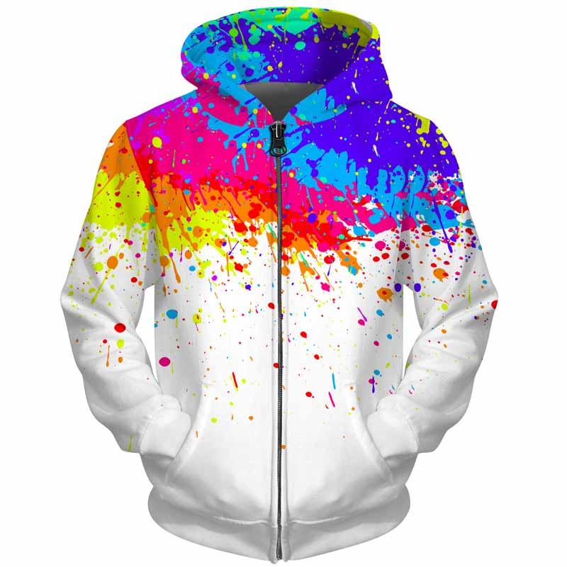 Cloudstyle 3D Men Hoodies Zip Up Splatter Color Paint Stains 3D Print Streetwear Casual Jacket Men Women Outwear Plus Size 5XL