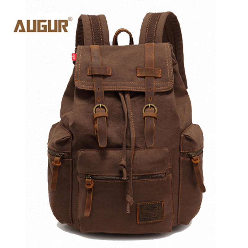 ФОТО AUGUR Vintage Unisex Canvas Leather Backpack Rucksack Satchel Bag Bookbag College students package Computers Unisex Backpacks