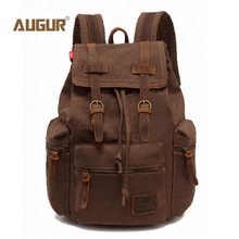 AUGUR Vintage Unisex Canvas Leather Backpack Rucksack Satchel Hiking Bag Bookbag Tactical camping bag Computers Backpacks