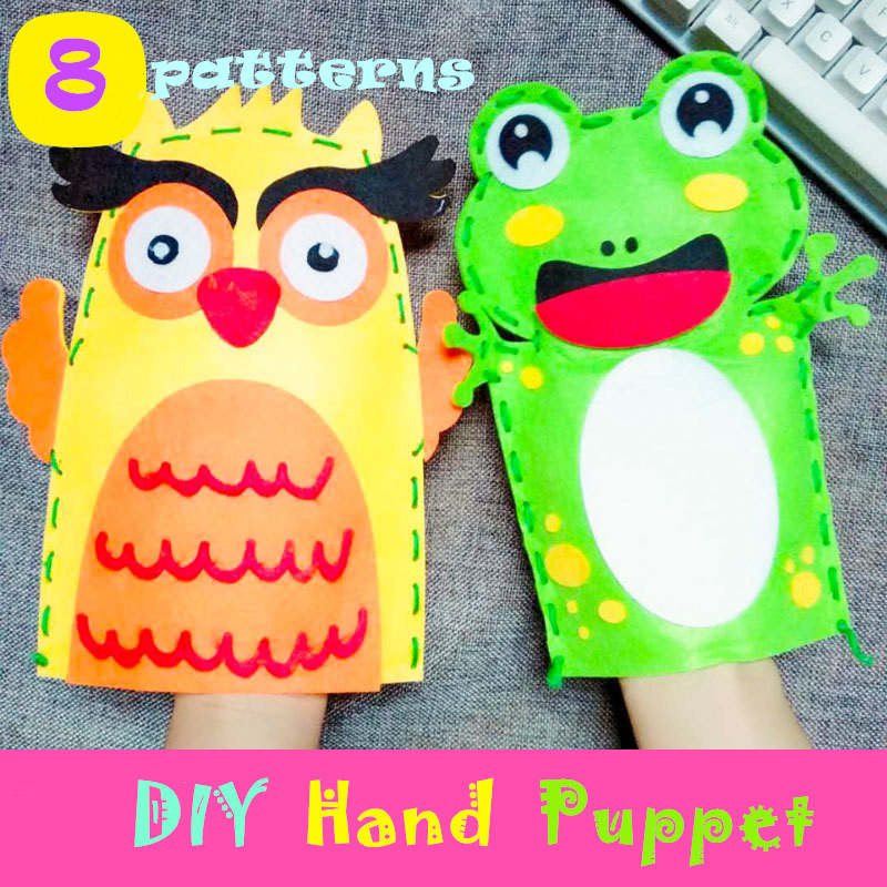 Kids DIY Non-woven Cartoon Hand Puppet Handmade Animal Hand Puppet DIY Material Package Creative Cartoon Sewing Toys Craft Toys