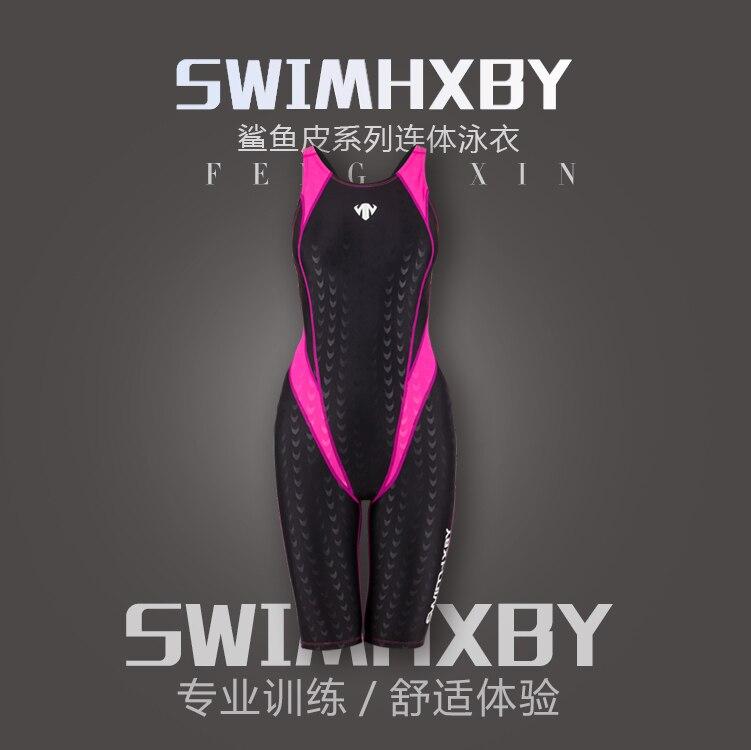 2018 NIEUW !!! HXBY badmode kinderen meisjes racen chloorbestendig training professionele sharkskin knie dames trainingsbadpakken