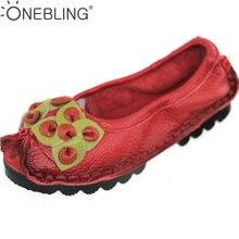 Плюс Размеры женская обувь 2017 Демисезонный модные Натуральная кожа без застежки Обувь Мягкая дышащая Уличная Повседневная обувь на плоской подошве