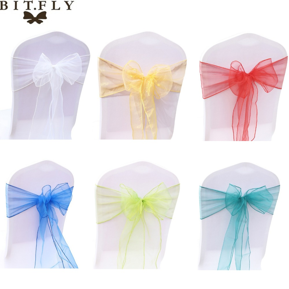 BIT.FLY 5pcs/lot Organza Wedding Chair Sashes Bow Chair Knot For Wedding Party Banquet Chairs Decorations Event Party Supplies