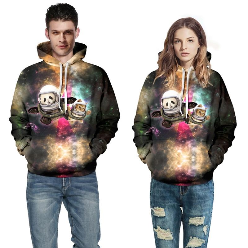Autumn/Winter 3D Sweatshirts Women Men Couple Personality Panda Cat Print Casual Novelty 3D Animal Hooded Hoodies QL-015