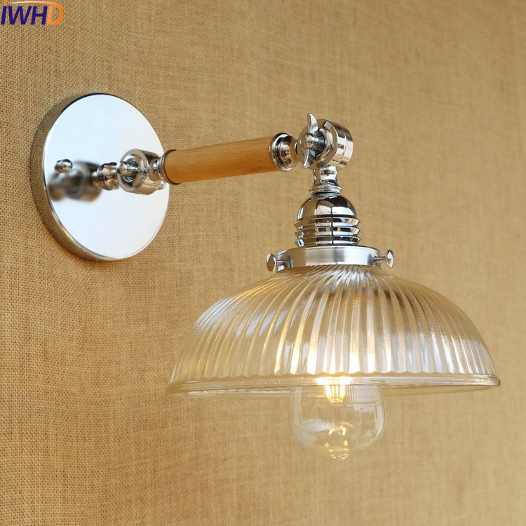 IWHD Glass Wooden Vintage Wall Lights Fixtures Arm Edison Style Loft Industrial Wall Light Lamp Sconce Appliques Pared glass arm long light retro wooden wall lights led edison style loft industrial wall sconce vintage wandlamp appliques pared
