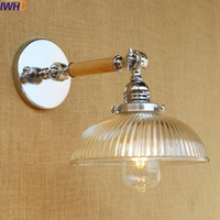 IWHD Glass Wooden Vintage Wall Lights Fixtures Arm Edison Style Loft Industrial Wall Light Lamp Sconce Appliques Pared