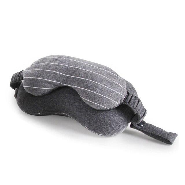 XC USHIO 2019 New 2 in 1 Grey Travel Neck Pillow & Eye Mask & Storage Bag with Handle Portable Comfortable Elegant Hand Washable 4
