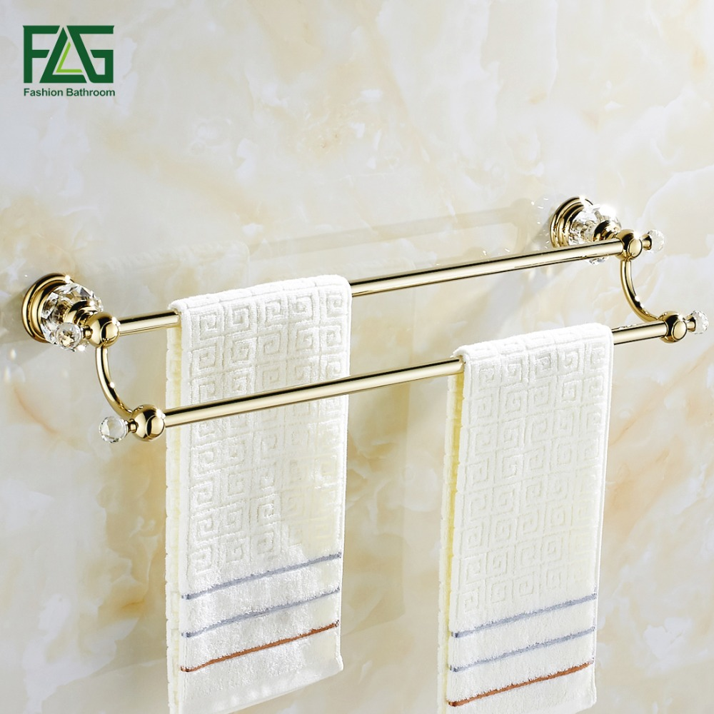 цена на FLG Free Shipping Bathroom Accessories Wall Mounted Crystal Golden Double Towel Bar Wholesale Towel Bar Bath Towel Rack 87505