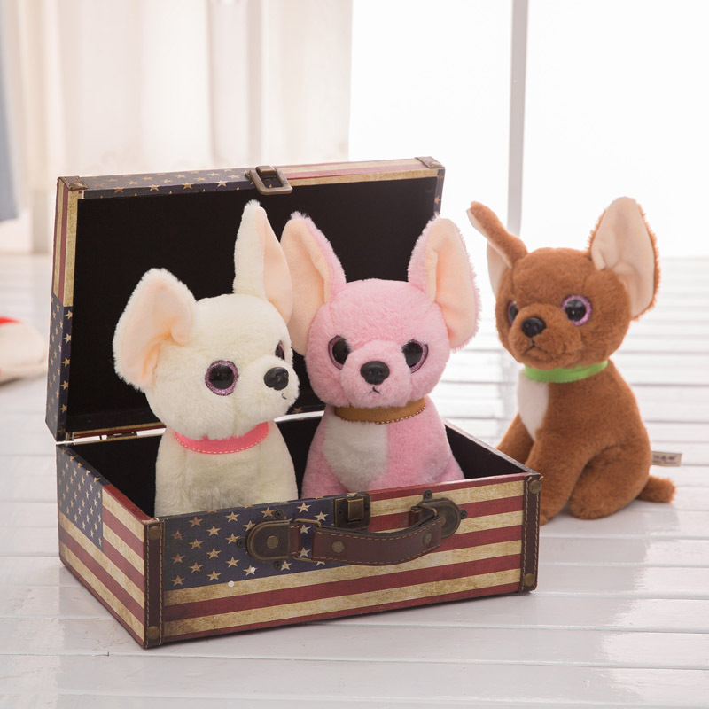 26CM Cute Simulation Chihuahua Plush Toy Little Puppy Soft Stuffed Animal Lovely Chihuahua Kawaii Dog Kid&Girl Gift simulation poodle plush toy superman puppy stuffed animal gift for children soft doll teddy dog puppy model with clothes 45cm
