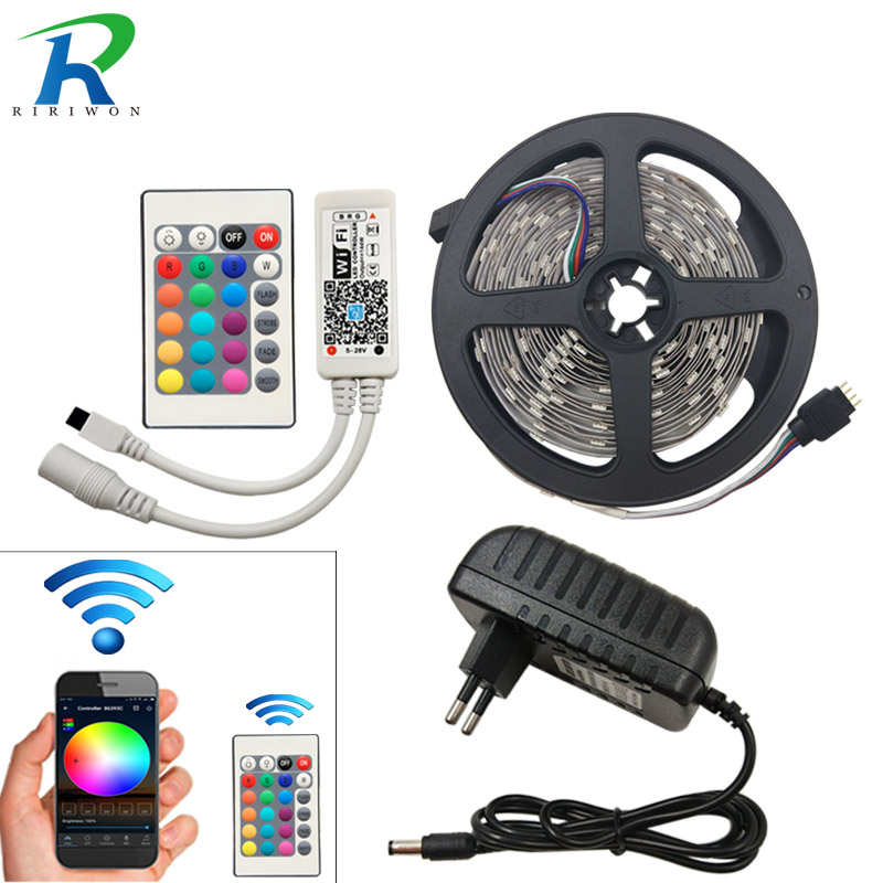 Wifi 5M RGB LED Strip 2835 RGB Led Light Tape DC 12V Flexible String 10M 15M 20M WiFI Controller adapter Wifi nəzarətçi ilə