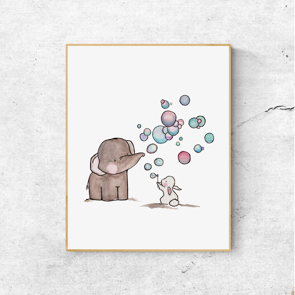 Nursery Prints Girl Us 5 6 Girl S Woodland Elephant Bunny And Bubbles Nursery Prints Little Boy S Bedroom Decoration Child Wall Art Painting Decor No Frame In Painting