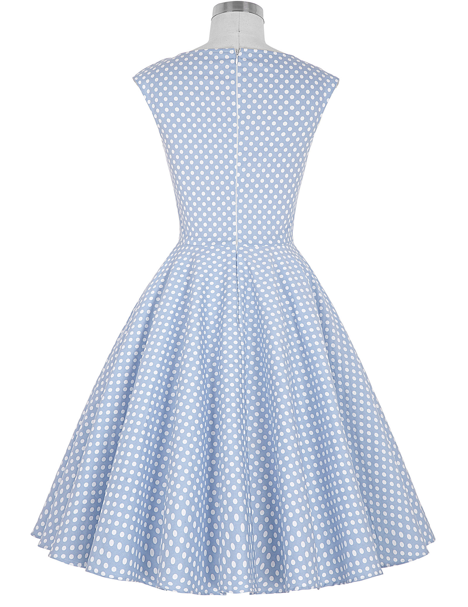 Summer Women Sleeveless Polka Dots Dress Floral Pinup Zippers Vintage Retro Party V-Neck Tank Swing A-Line Dress