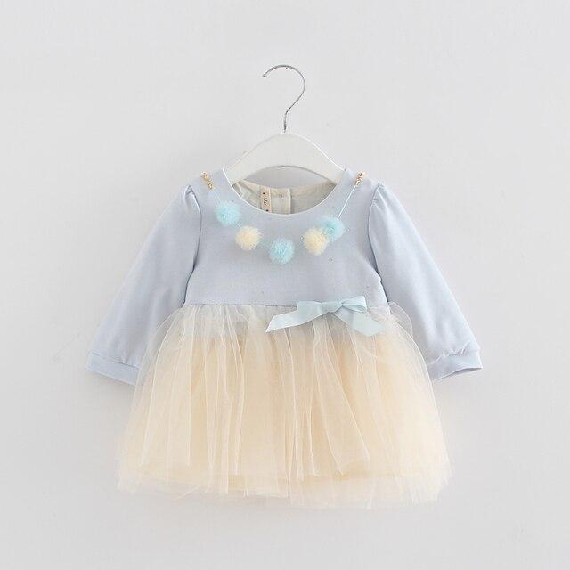 סיטונאי 5 יח'\חבילה הסתיו בייבי בנות בנות בגדי ילדים יום הולדת שמלת מסיבת נסיכת ילדי שרוול ארוך כדור שמלה עבור 0-2 T