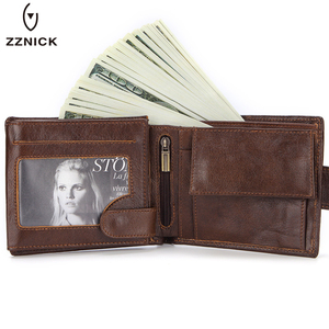 ZZNICK брендовый мужской кошелек, короткий кошелек из натуральной кожи, модный кошелек с застежкой для мужчин, Portomonee с держателем для карт, дер...