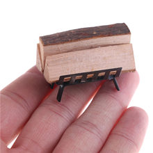 1/12 Dollhouse Furniture Metal Rack with Firewood for Living Room Fireplace Limited Collection for Doll House Decoration(China)
