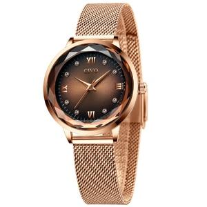 Image 2 - Fashion Women Watches 2019 CIVO Waterproof Rose Gold Steel Mesh Strap Quartz Women Watch Top Brand Ladies Clock Relogio Feminino