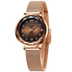 Image 2 - Moda feminina relógios 2019 civo à prova dwaterproof água rosa ouro aço malha cinta de quartzo relógio feminino marca superior senhoras relógio relogio feminino