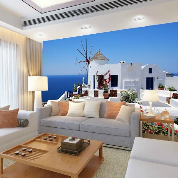 Mediterranean Style Houses With Ocean Views: Mediterranean Style Wallpaper Mural Of The Living Room
