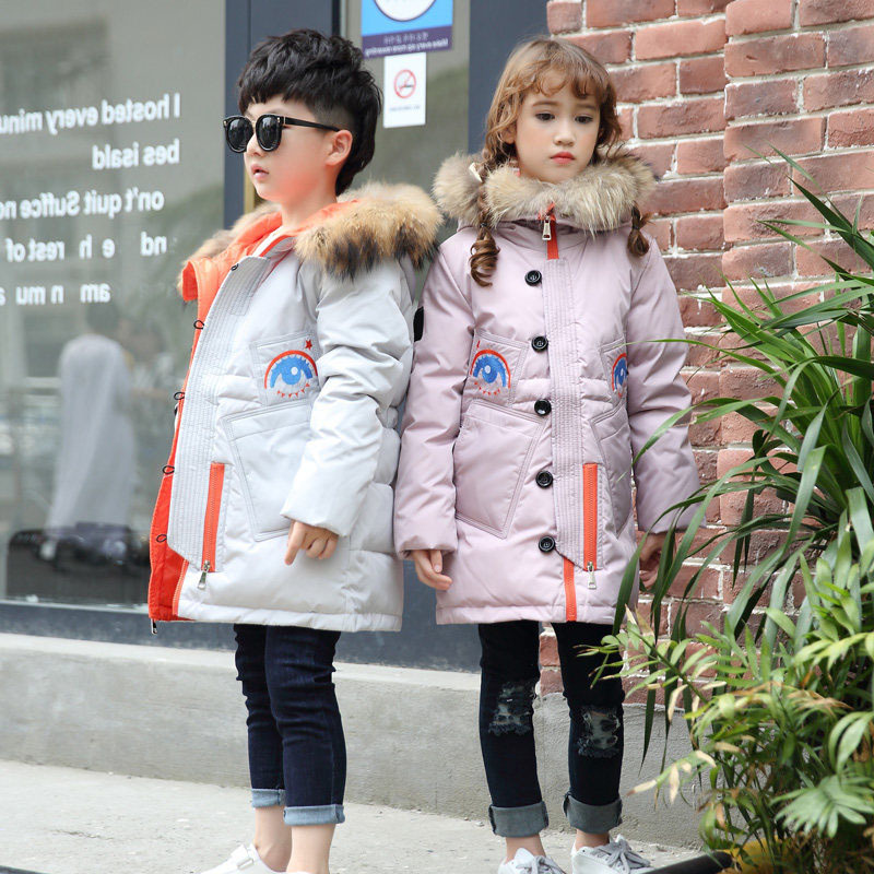 Boys Winter Jacket 2016 New Boys long section thick padded jacket Kids Fur collar Hooded coat children casual keep warm outwear