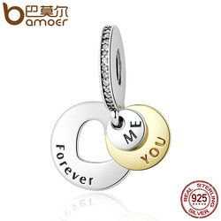 BAMOER Romantic Gift 925 Sterling Silver You & Me Forever, Clear CZ Round Pendant Charms fit  Bracelet DIY Jewelry PSC017