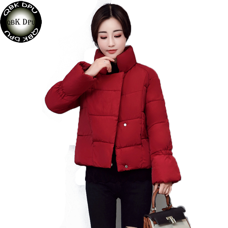 QPUDPK 2018 Solid Color Winter Coats Women Long Sleeve Short   Parka   Thick Warm Cotton Padded Coat Winter Outwear Ladies Jacket
