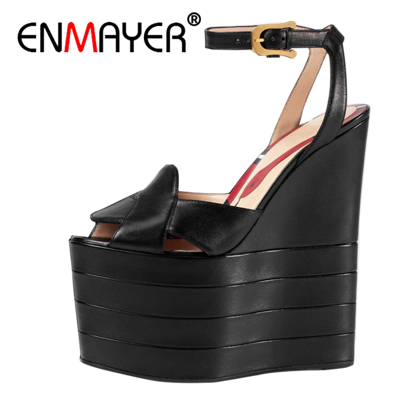 ENMAYER Woman High Heels Sandals Shoes women Summer Peep Toe Buckle strap Fashion Lady Wedges Platform Shoes Buckle strap CR30 2018 summer new arrived strap design wedges women sandals peep toe comfort mid heel sexy lady sandal fashion student casual shoe