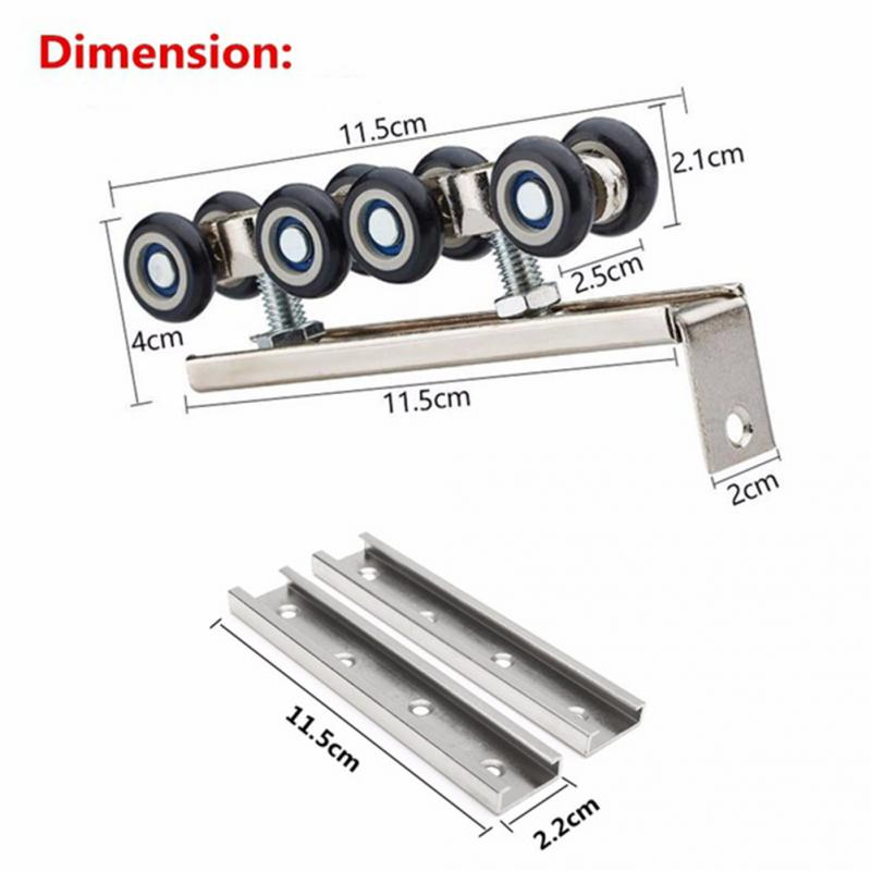 1 Pair Sliding Wooden Door Hanging Wheels Closet Hangers Roller Household Furniture Hardware Heavy Duty Slides heavy duty acrylite adhesive pair