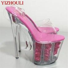 Letnia gorąca róża wodoodporna platforma, 20 cm obcas wysoki klub nocny etap kobiety czują sandały na wysokim obcasie