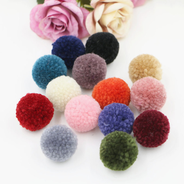 Wholesale 100pcs 25mm Round Fur Balls Craft Girls Hair Jewelry Diy