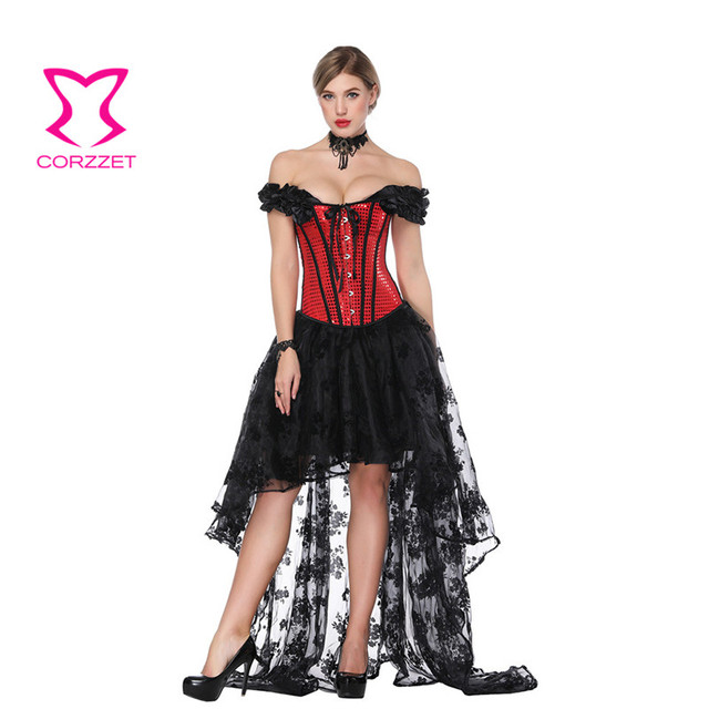 7ef4cda67f7 Corzzet Victorian Red Sequined Off Shoulder Overbust Corset And Foral Lace Skirts  Sexy Steampunk Gothic Bustiers Sets