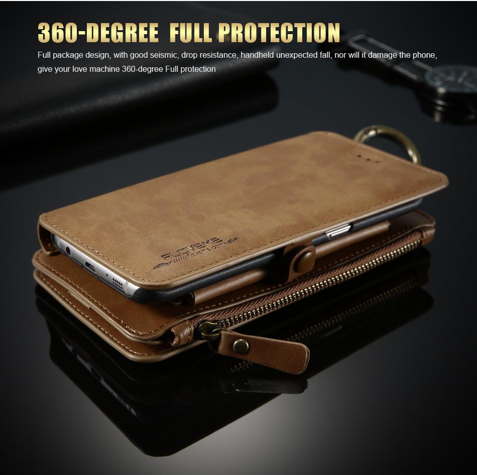 FLOVEME Hybrid Detachable Leather Case For Samsung Galaxy S7 Edge 18 Card Slot Metal Zipper Cash Storage Wallet Pouch Cover Bag (9)