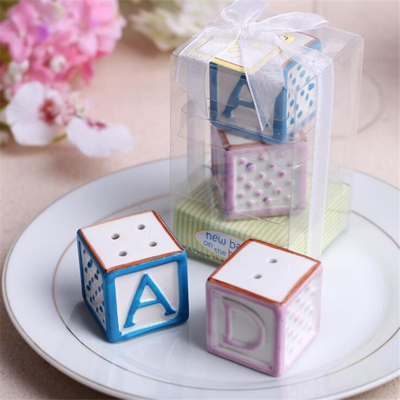 New Baby on the Block Ceramic Baby Blocks Salt & Pepper Shakers Wedding Decoration Gifts Favors 40 set ...