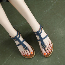 купить Summer Gladiator Sandals Women Aged Leather Flat Fashion Women Shoes Casual Occasions Comfortable The Female Sandals дешево