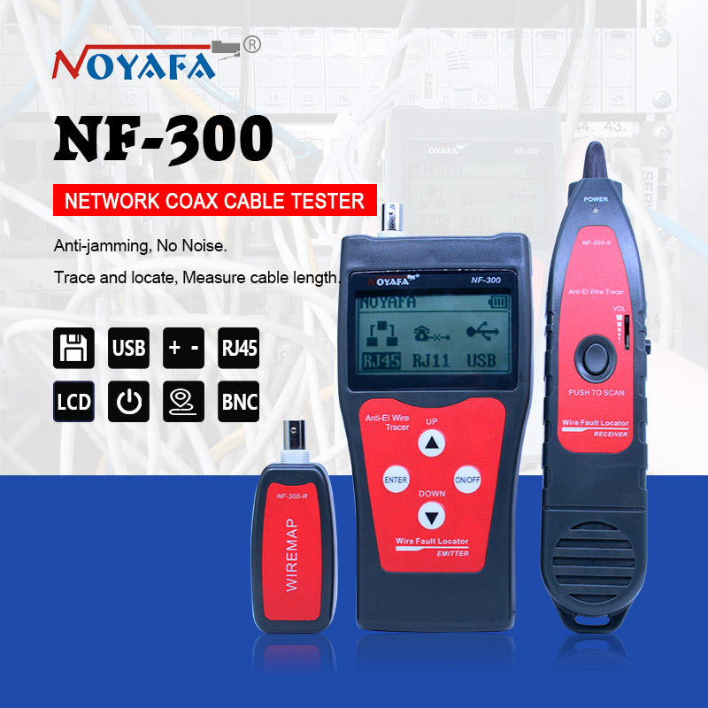 NOFAYA NF 300 Lan tester RJ45 LCD cable tester Network monitoring wire tracker without noise interference