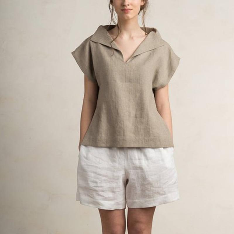 Celmia Women Vintage Linen Tops Plus Size Blouses 19 Summer V Neck Short Sleeve Shirts Casual Tunic Female Blusas Femininas 10