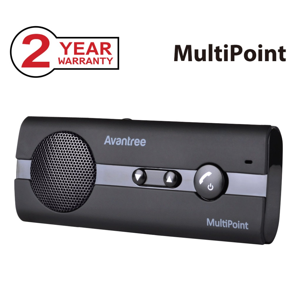 Avantree 10BP V4.0 MULTIPOINT Bluetooth Handsfree Visor Car Kit with Music GPS Support, In Car Speakerphone for phone Car Use