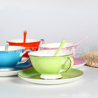 European High Grade Coffee Cup Color Suit Bone China Coffee Mugs Ceramic Red Cup British Coffee