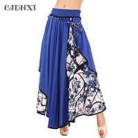 Women Skirts Summer 2016 New Fashion Bohemian Floral Patchwork Long Skirt Casual Bow Skirt Pleated Big