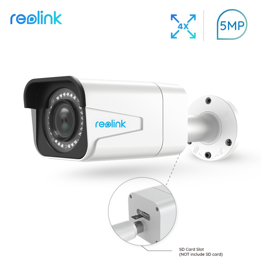Reolink PoE IP Caméra extérieure 5MP 4x Zoom Optique SD fente pour carte IP66 Étanche Onvif Bullet vidéo surveillance RLC-511