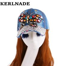 new design large butterfly mixed rhinestone bead beauty women girl woman novelty snapback hat denim baseball cap chapeau(China)