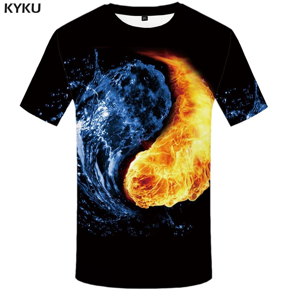 KYKU Water T Shirt Men Black Anime Tshirt Yin Yang Flame 3d T-shirt Gothic Funny T Shirts Hip Hop Mens Clothing New Summer Tops