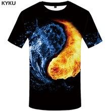 купить KYKU Water T Shirt Men Black Anime Tshirt Yin Yang Flame 3d T-shirt Gothic Funny T Shirts Hip Hop Mens Clothing New Summer Tops дешево